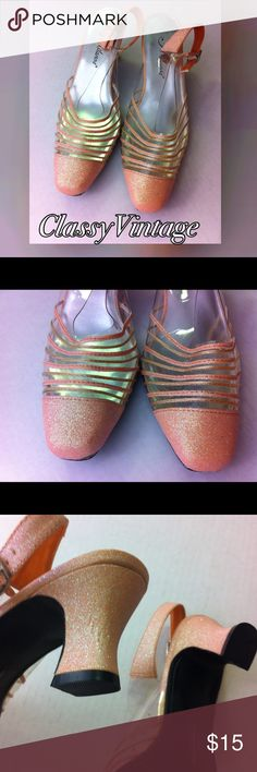 Vintage sparking light peach pumps. Beautiful  never worn vintage pumps. Adjustable  strap  with clear vinyl and light peach shimmering  vinyl.  Shoes are a lighter color than pics. Almost blush. 2 1/4 inch heels. Vintage Shoes Heels
