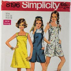 Vintage 1969 Mini Dress Simplicity Sewing Pattern 8196 Pantdress Jumper Miss Size 16 Uncut from @antikavenue on @rubylane #Simplicitypatterns #vintagesewing #sewingpatterns