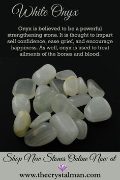 White Onyx ~ Strength-Self Confidence-Grief-Happiness-Bones-Blood Shop tantalizing new tumbled stones online now at The Crystal Man! Gems And Minerals, Crystals Minerals, Crystals And Gemstones, Stones And Crystals, Gem Stones, Crystal Guide, Crystal Magic, Crystal Skull, Chakras