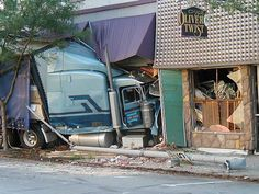 Semi-truck crashes into Smiley's Pub in Richmond, Indiana.