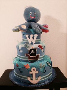 Ocean Themed Baby Shower Diaper Cake