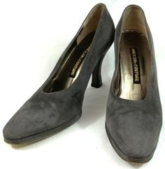 05e077f763e Anne Klein Couture Shoes Womens Size 8 N Narrow Gray Leather Kitten Heels…