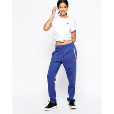 Le Coq Sportif Colori No 2 Joggers ($49) ❤ liked on Polyvore featuring activewear, activewear pants, blue, le coq sportif and tall activewear
