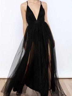 A-line Deep-V Floor-Length Tulle Simple Prom Dresses ASD2506