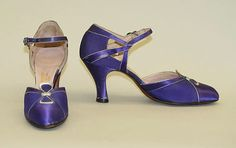 Oh my !  Leather & satin silk. Nancy Haggerty   1930's Evening shoes   American   The Met