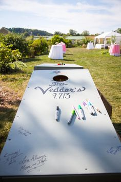 Guest Books & Well Wishes Ideas Wedding Invitations Photos on WeddingWire. This & Human Sized Jenga as wedding guest sign in. Camp Wedding, Wedding Games, Wedding Reception, Our Wedding, Wedding Planning, Dream Wedding, Wedding Activities, Nautical Wedding, Wedding Favors