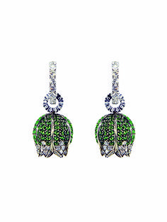 Lily of the valley earrings white gold with tsavorites and diamonds