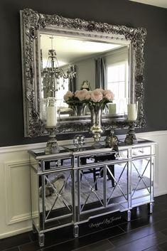 Classy Living Room, Living Room Decor Cozy, Beautiful Living Rooms, Bedroom Decor, Mirrored Furniture, Home Decor Furniture, Mirrored Nightstand, Home Design Decor, Diy Home Decor