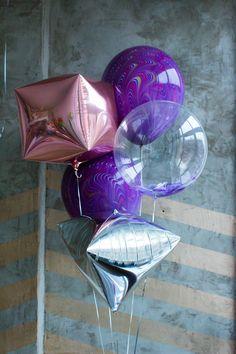 Розово золотая фольга кубик и серебряная фольга пирамида и бархатные большие шары и прозрачный большой воздушный шар с перьями набором |Rose gold foil cube balloon and silver foil pyramid balloon and velvet big ballons and clear big balloon with feathers set