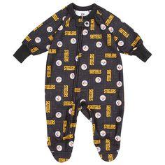 Pittsburgh Steelers Toddler Black Blanket Sleeper Bodysuit