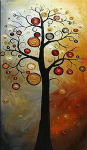 Wieco Art - Tree of Life 100% Hand-painted Oil Paintings, Stretched and Framed Modern Canvas Wall Art Wall Decor Abstract Oil Paintings on Canvas for Home Decor 24x48inch
