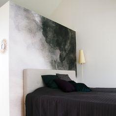 Custom designed wallpaper, DEEP GREEN CLOUD for parental suite, giant watercolor by pia tikkanen design, 2017.