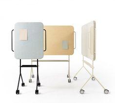Swedish company ZilenZio makes Mezzo, a roll-around sound absorber / whiteboard / bulletin board for offices! #acoustics