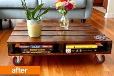 DIY coffee table from pallette + more DIY with palletts.