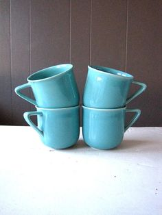 Vintage Höganäs of Sweden Turquoise Coffee Cups Set of Four