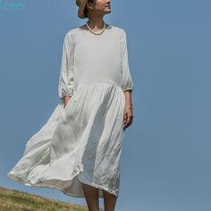 100% zijde kleding, vrouwen 100% zijden jurk, breif O-neckThree kwart mouw jurk, a-lijn witte en zwarte jurk, LinenAll WUYOU