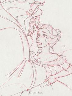 Disney Princesses - Preproduction Sketches (Alice, Belle, And Cinderella)