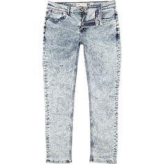 f3586b7f15 Acid wash Sid skinny stretch jeans - skinny jeans - jeans - men River  Island Fashion