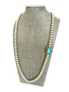 Navajo Sterling Silver & Turquoise Beaded Necklace Hand #SterlingSilverTurquoise