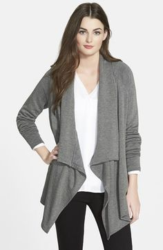 Bobeau+Drape+Front+Fleece+Knit+Cardigan+available+at+#Nordstrom