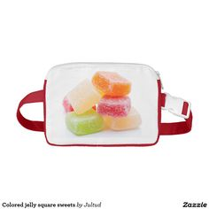 Colored jelly square sweets fanny pack