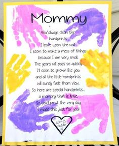 I just had to share this adorable Mother's Day gift idea for mom from Todder Time Tips! It's a darling little poem that will surely melt mama's heart (as well as make the greatest keepsake). Who doesn't love those tiny hand prints? Get the free printable Mothers Day Crafts For Kids, Fathers Day Crafts, Mothers Day Cards, Mother Day Gifts, Poems For Mothers Day, Mothers Day Poems Preschool, Easy Mothers Day Crafts For Toddlers, Mothers Day Ideas, Mom Poems