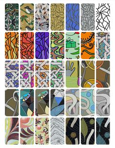 Digital Download. 1x1.5 Rectangle, Domino Collage Sheet #6. Pattern, abstract, pendant art. Print out for craft and jewelry projects. 300dpi