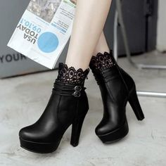 New Women Black Round Toe Chunky Lace Stitching Fashion Ankle Boots Source by boots Thigh High Boots Heels, Buckle Ankle Boots, Black Heel Boots, Black Heels, Heeled Boots, High Heels, Shoes Heels, Lace Shoes, Black Toe
