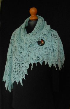 Hand Knitted Lace Shawl in pale blue Baby Alpaca. on Etsy, $168.04 AUD