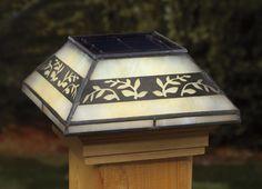 Leaf Filigreed Glass Solar Post Cap
