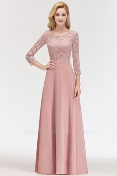 Newest Lace Pink Sleeve Bridesmaid Dress 2019 Floor-length Dress Item Code: Mint Green Bridesmaid Dresses, Bridesmaid Dresses With Sleeves, Gowns With Sleeves, Modest Dresses, Simple Dresses, Prom Dresses, Wedding Dresses, Maid Of Honour Dresses, Chiffon Gown