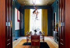 Kips Bay 2013 - contemporary - dining room - new york - Rikki Snyder Fine Paints Of Europe, Gold Ceiling, Wall Paint Colors, Color Walls, Interior Decorating, Interior Design, Decorating Ideas, Home Decor Trends, Colorful Interiors