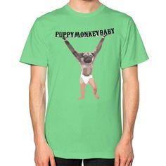 Puppy Monkey Baby Unisex T-Shirt (on man)