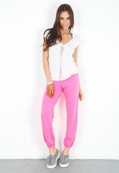 Monrow Vintage Sweatpants in Neon Pink  $110