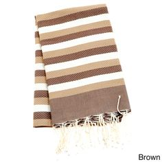 Authentic Fouta Natural Cotton Tri-Color Beach Towel (Tunisia) By Berber Decor| Overstock.com