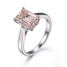 7x9mm Emerald Cut Morganite Engagement Ring 14k White gold Solitaire Heart Underneath