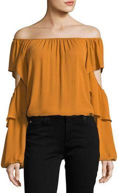 77369b8f8ce6f5 Kobi Halperin Wiley Off-the-Shoulder Silk Blouse Off The Shoulder, Silk,