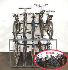 WireCrafters Bike Stacker multiple bicycle storage rack is the perfect and efficient apartment and condominium bicycle storage solution. Bicycle Storage Garage, Bike Storage Room, Overhead Garage Storage, Wire Storage, Locker Storage, Storage Racks, Bike Storage Solutions, Storage Ideas, Indoor Bike Rack
