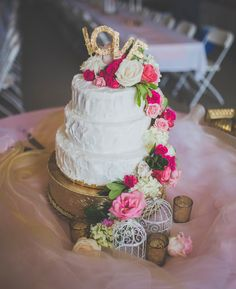 Country Chic Blush, Bright Pink, White, and Gold Wedding Cake