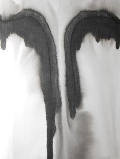 "Manjuzaka Original Artwork Fine Art Black and White Ink Wash Painting 11.7x16.5 ""Absentee"""
