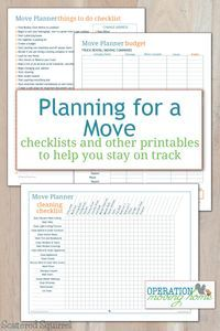 Planner Printables to Help You Stay on Track Free move planner printables to help keep track of all the little details that go along with moving.Free move planner printables to help keep track of all the little details that go along with moving. Moving List, Moving House Tips, Moving Home, Moving Day, Moving Hacks, Moving Organisation, Organization Hacks, Organising Ideas, Household Organization