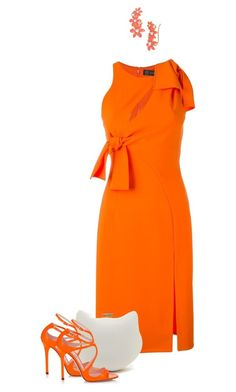 """""""Orange You Glad It's Friday?😍"""" by loveroses123 ❤ liked on Polyvore featuring Versace, Jimmy Choo and Kate Spade"""