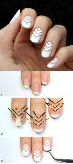 Easy and creative nail decoration – chevron pattern on white nails Loading. Easy and creative nail decoration – chevron pattern on white nails Nail Art Diy, Easy Nail Art, Diy Nails, Diy Art, Nail Nail, Top Nail, Nail Polishes, White Nail Art, White Nails