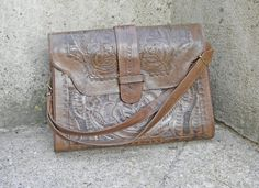 Vintage 1970s Brown Tooled Leather Satchel by AtticAddictsVintage, $38.00