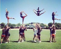 cheerleading stunts -too cute! Cheer Coaches, Cheer Mom, Cheer Stuff, Cheer Tips, Team Cheer, Cool Cheer Stunts, Cheerleading Photos, Cheerleading Cheers, American Football