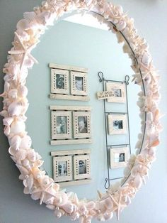 14 Easy and Gorgeous DIY Seashell Crafts You Can Make Today - The Thrifty Easy and Gorgeous DIY Seashell Crafts You Can Make Today Bathroom Mirror Frame Learning how exactly to frame a bathroom mirror can allow you to pro. Seashell Crafts, Beach Crafts, Diy And Crafts, Diy Mirror Frame Bathroom, Diy Mirror Decor, Mirror Crafts, Spiegel Design, Shell Frame, Decoration