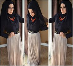 Navy blue top with beige skirt