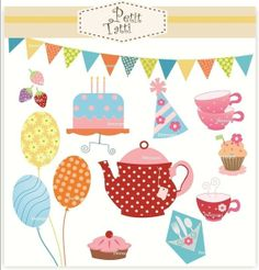 Digital clip art for all use tea party by petittatti on Etsy, $4.50