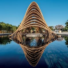 ZUO studio ( ) crafts the 'bamboo pavilion' exhibition hall in Taiwan's industrial city of Taichung. Created to express the… Wooden Pavilion, Glass Pavilion, Backyard Pavilion, Outdoor Pavilion, Pavilion Wedding, Pavilion Architecture, Sustainable Architecture, Landscape Architecture, Architecture Design