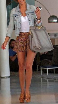 Mini skirt, denim jacket, simple tank, and sandals.  Perfect.